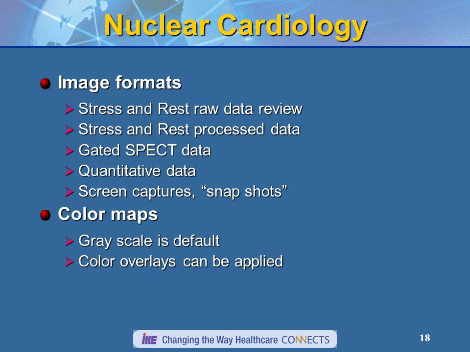 Nuclear Cardiology Image formats Color maps