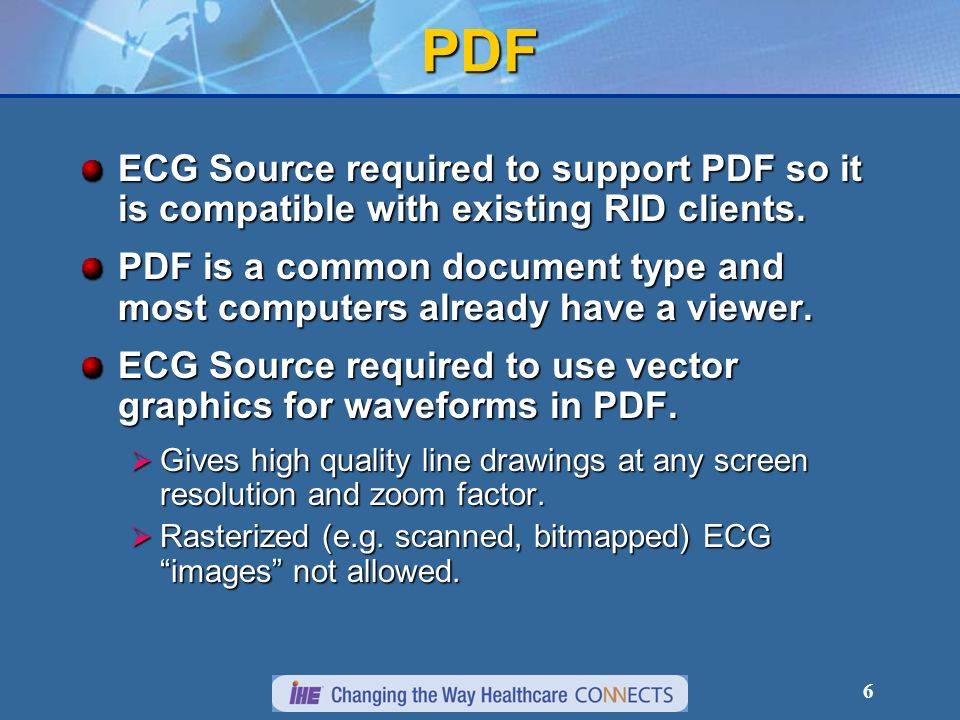PDF ECG Source required to support PDF so it is compatible with existing RID clients.