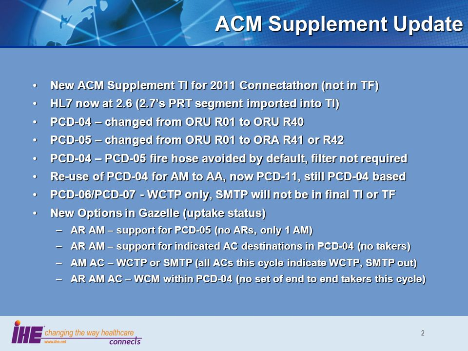 ACM Supplement Update New ACM Supplement TI for 2011 Connectathon (not in TF) HL7 now at 2.6 (2.7's PRT segment imported into TI)