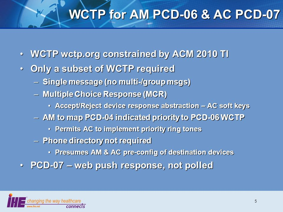 WCTP for AM PCD-06 & AC PCD-07