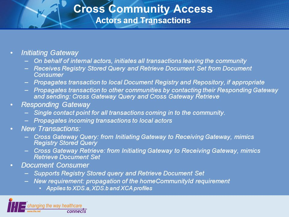 Cross Community Access Actors and Transactions