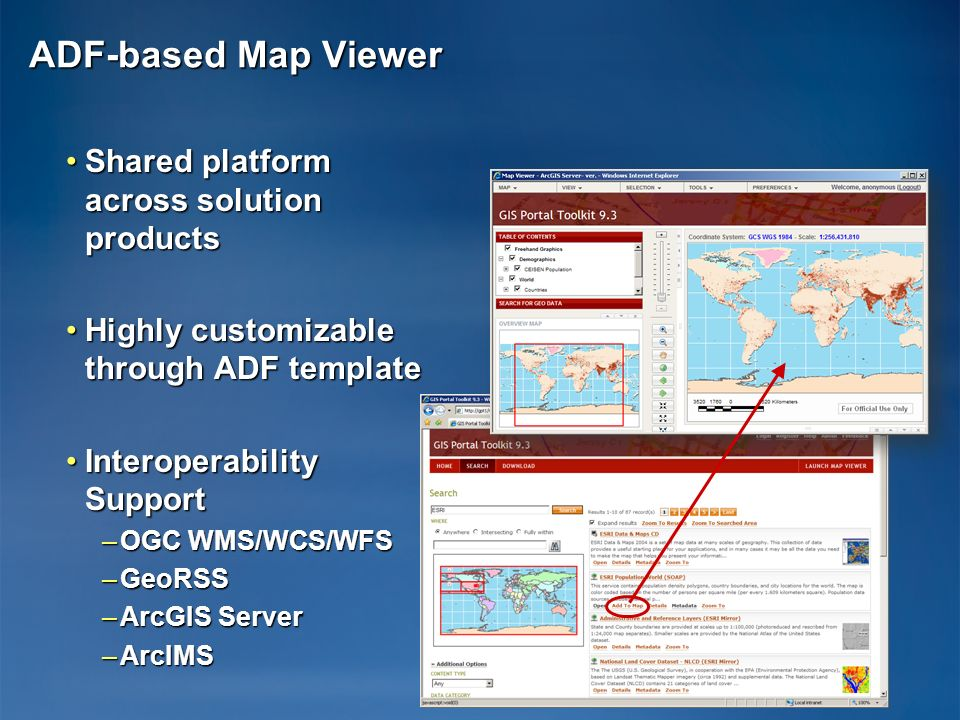 ADF-based Map Viewer Shared platform across solution products