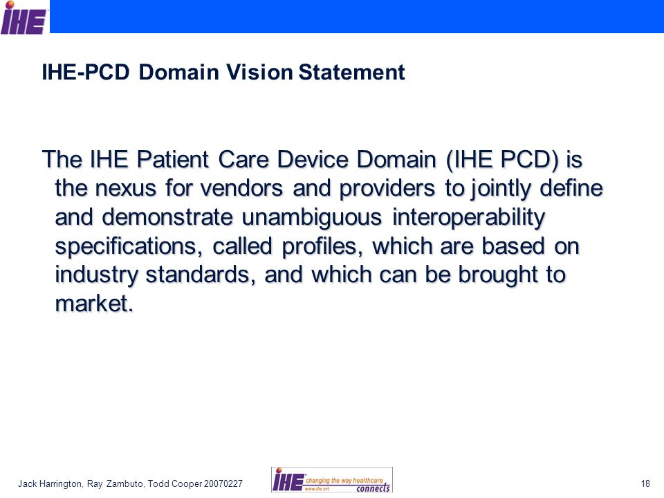 IHE-PCD Domain Vision Statement