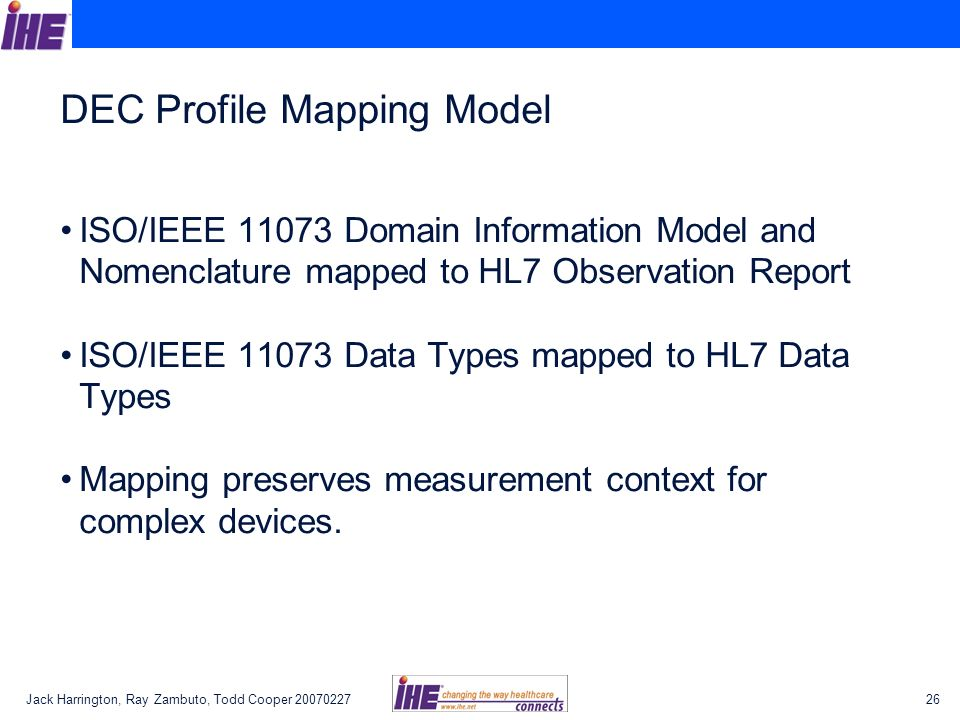 DEC Profile Mapping Model
