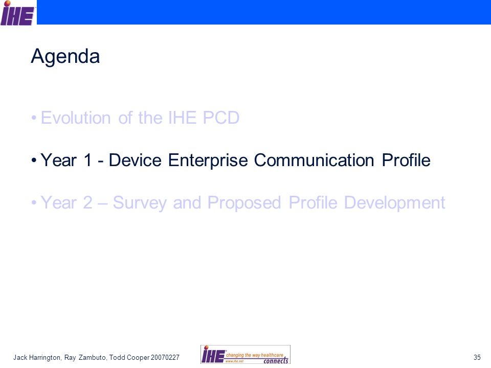 Agenda Evolution of the IHE PCD
