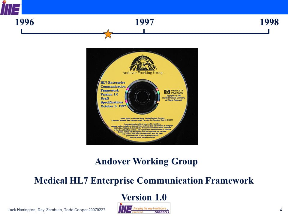 1996 1997 1998 Andover Working Group Medical HL7 Enterprise Communication Framework Version 1.0