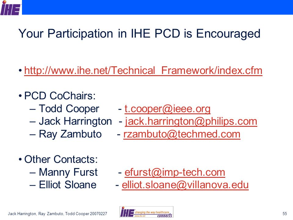 Your Participation in IHE PCD is Encouraged