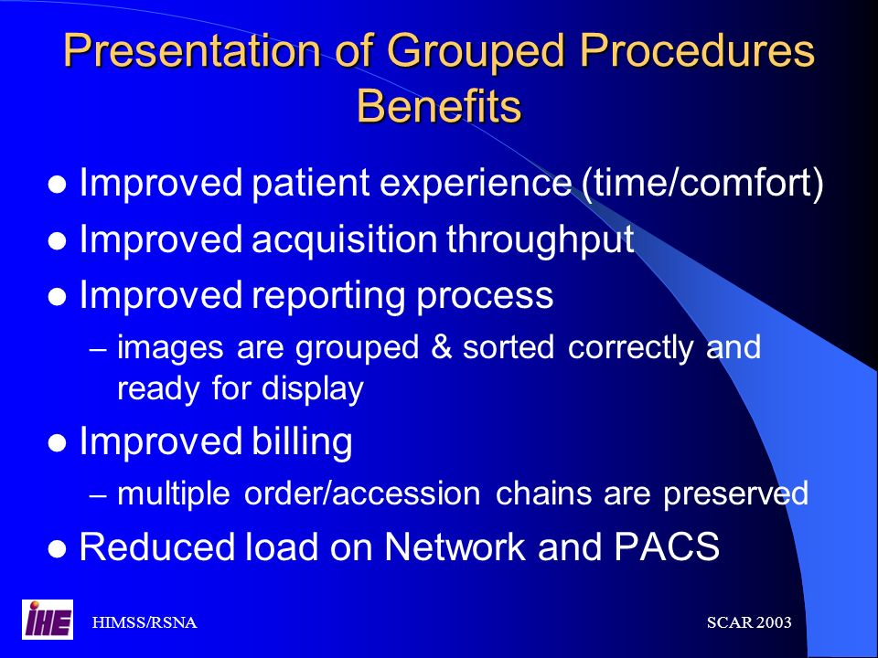 Presentation of Grouped Procedures Benefits