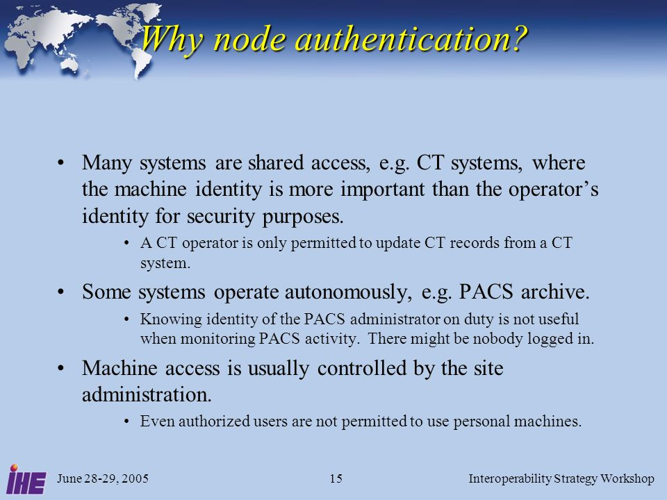 Why node authentication