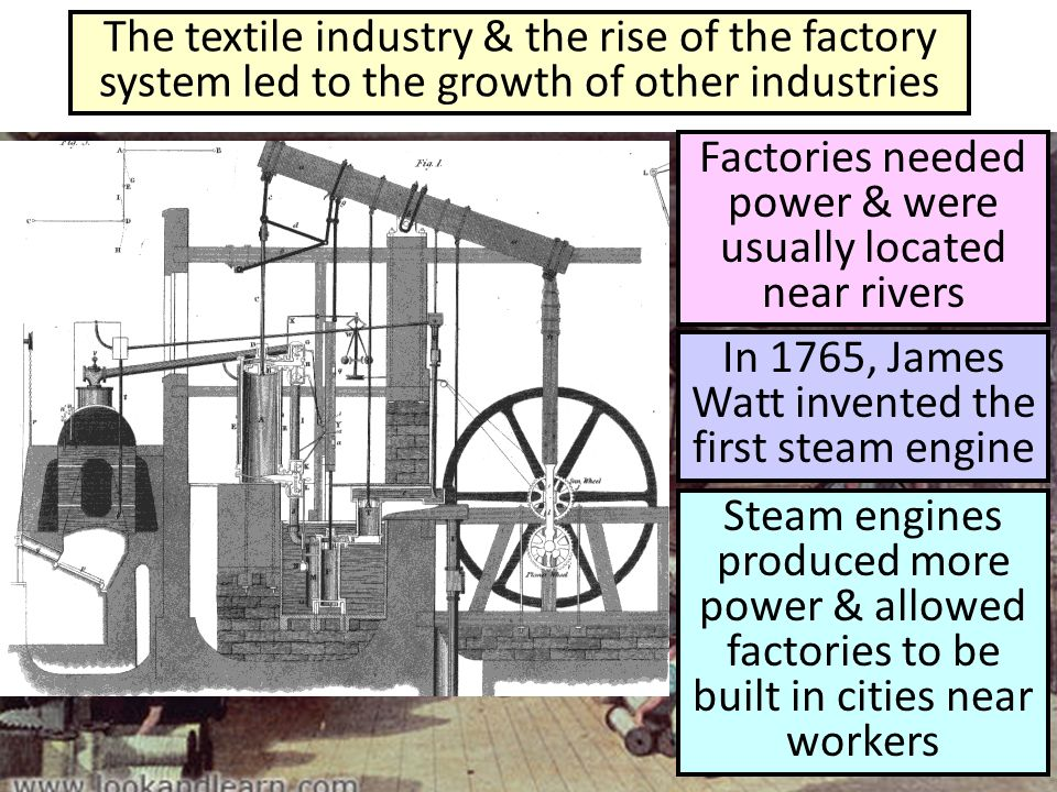 Factories needed power & were usually located near rivers