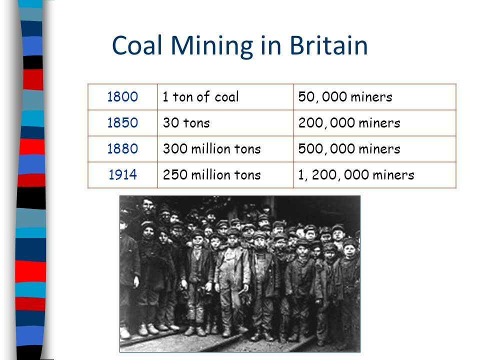 Coal Mining in Britain 1800 1 ton of coal 50, 000 miners 1850 30 tons