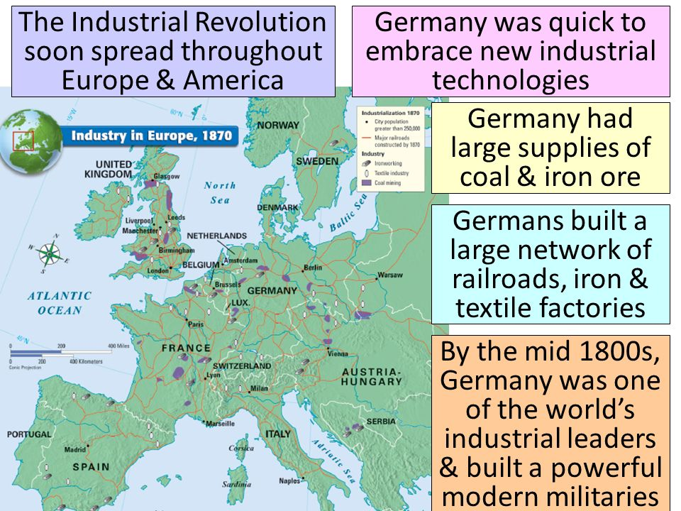 The Industrial Revolution soon spread throughout Europe & America