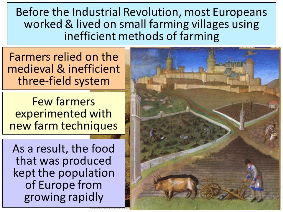 Farmers relied on the medieval & inefficient three-field system