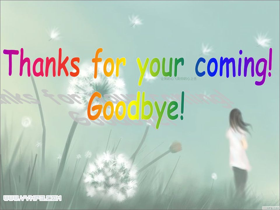 Thanks for your coming! Goodbye!