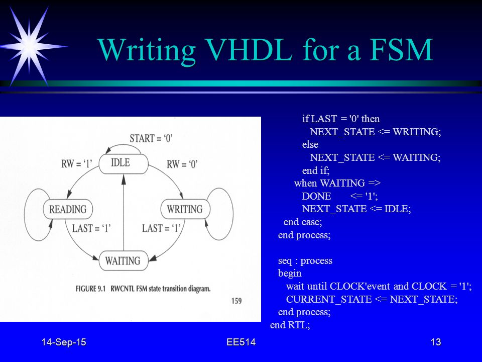 Writing VHDL for a FSM if LAST = 0 then NEXT_STATE <= WRITING;