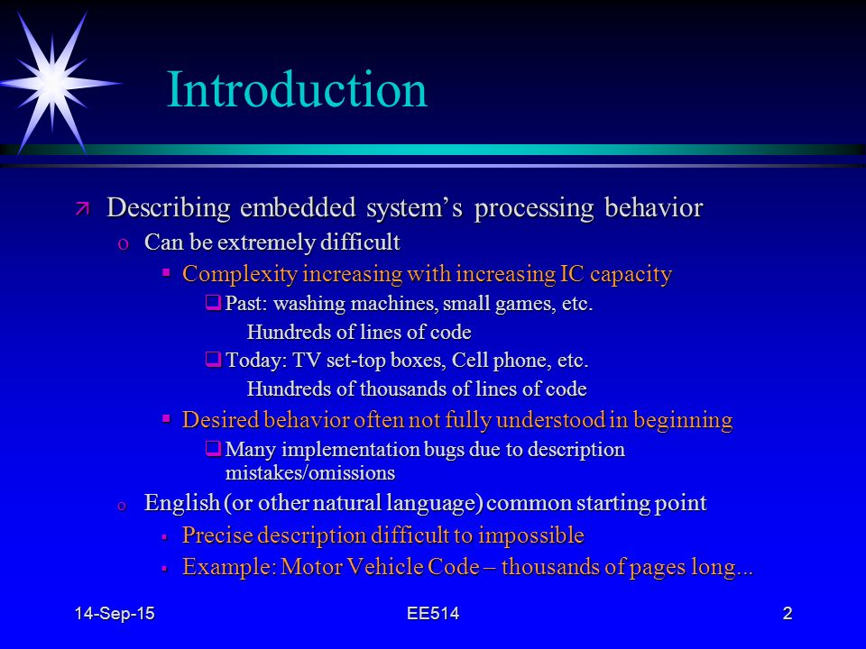 Introduction Describing embedded system's processing behavior