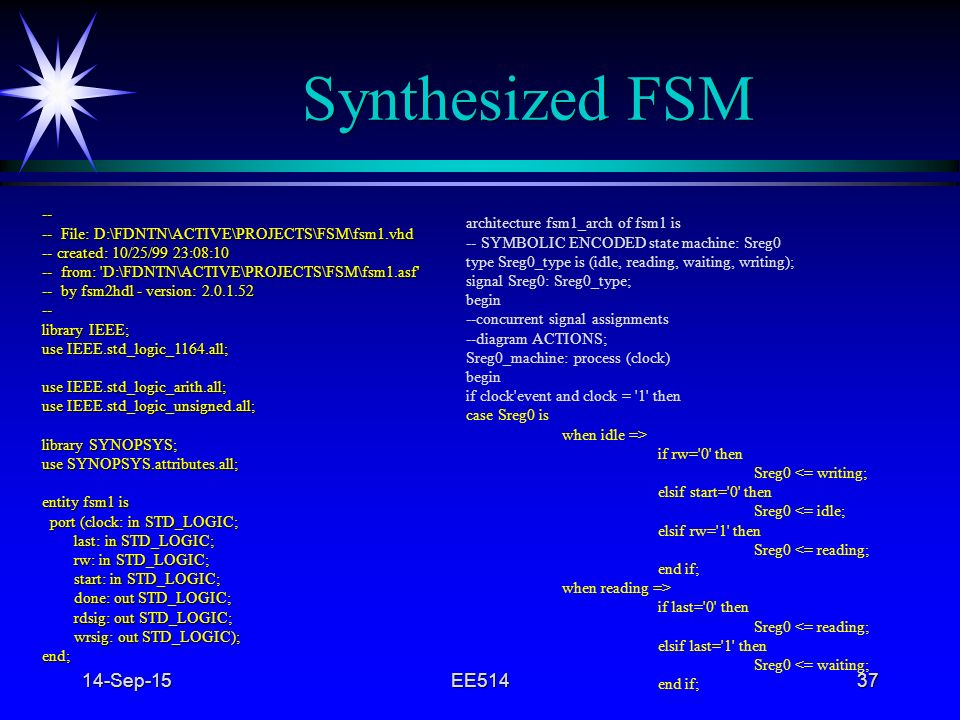 Synthesized FSM 22-Apr-17 EE514 4/22/