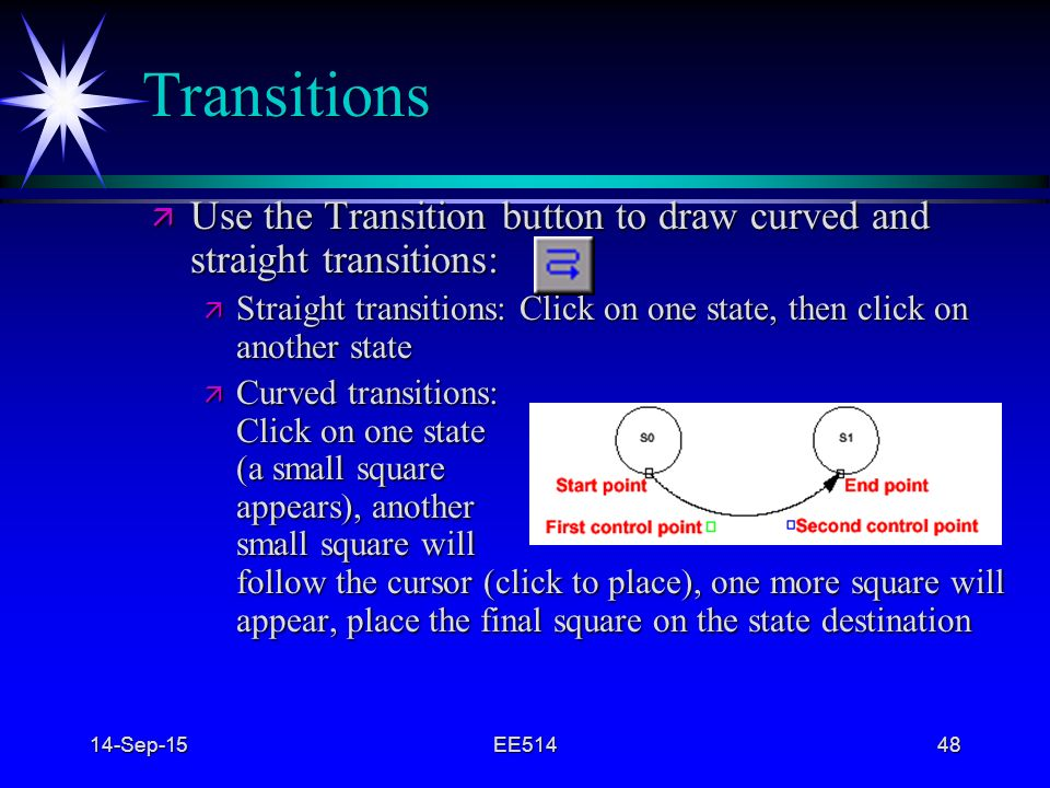 4/22/2017 Transitions. Use the Transition button to draw curved and straight transitions: