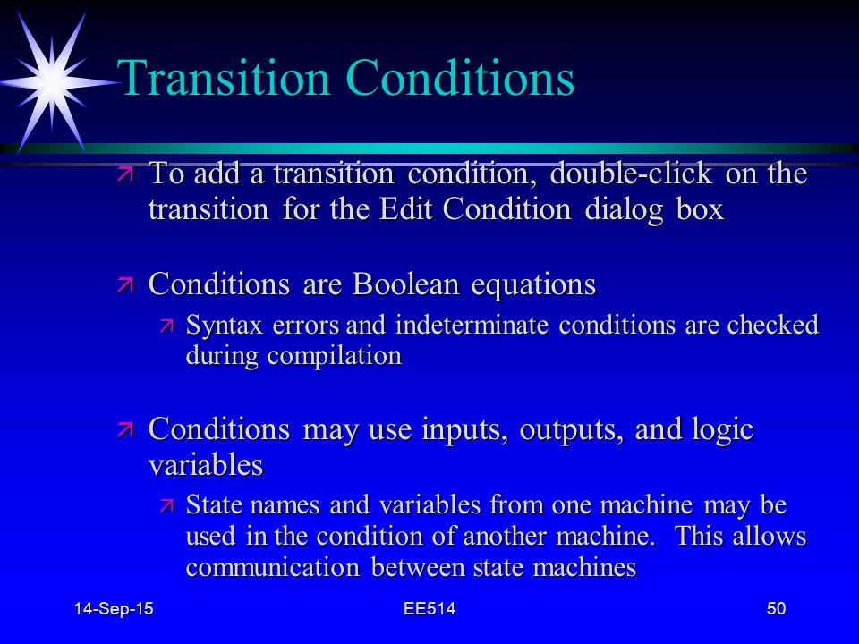 Transition Conditions