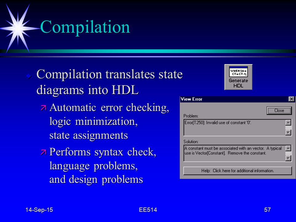 Compilation Compilation translates state diagrams into HDL