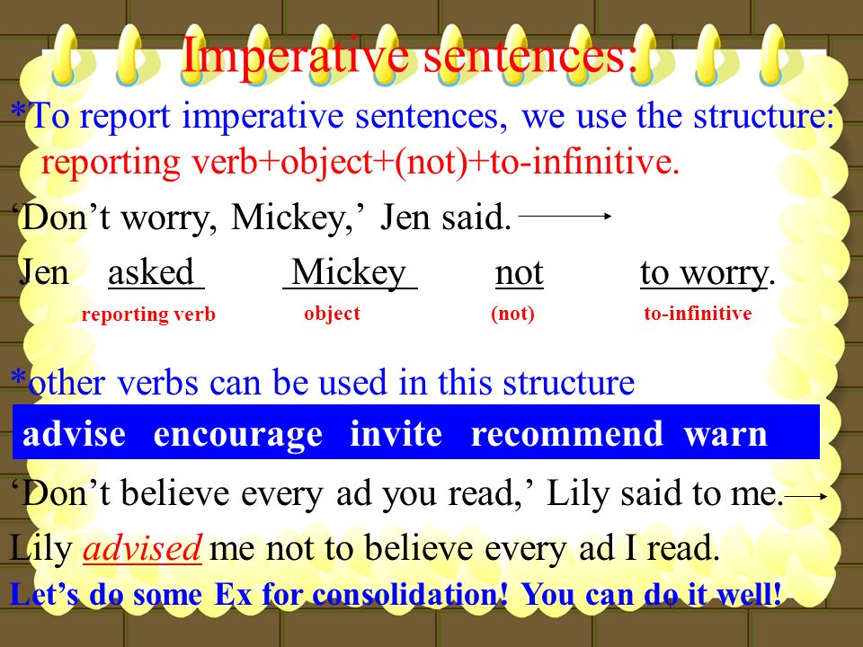 Imperative sentences: