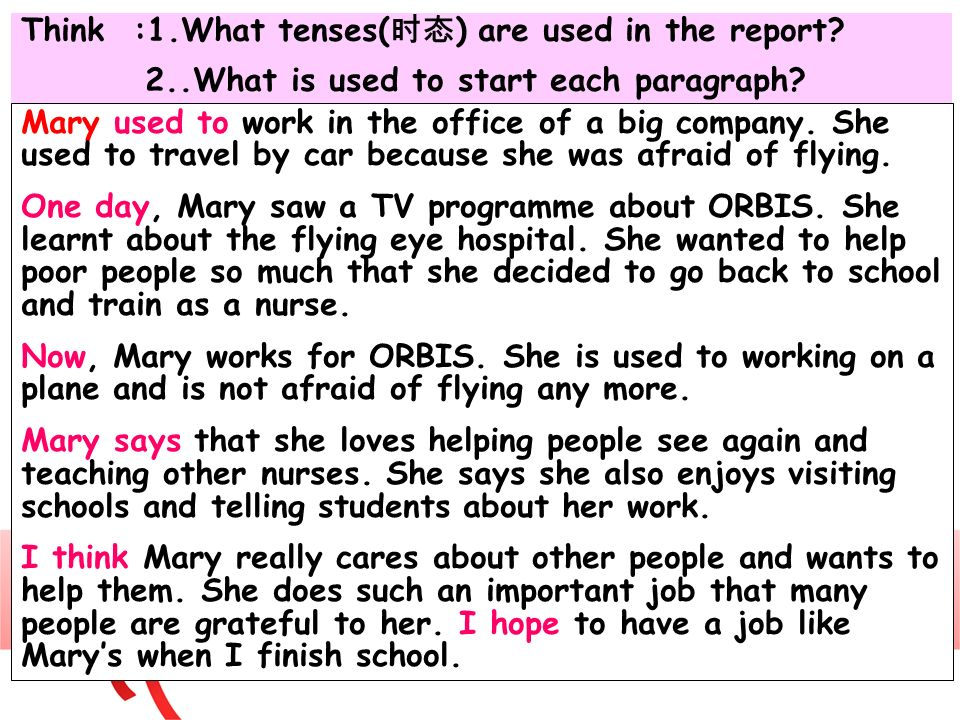 Think :1.What tenses(时态) are used in the report