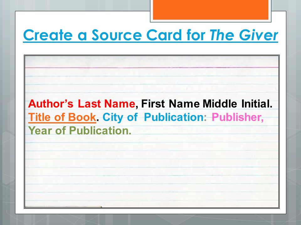 Create a Source Card for The Giver