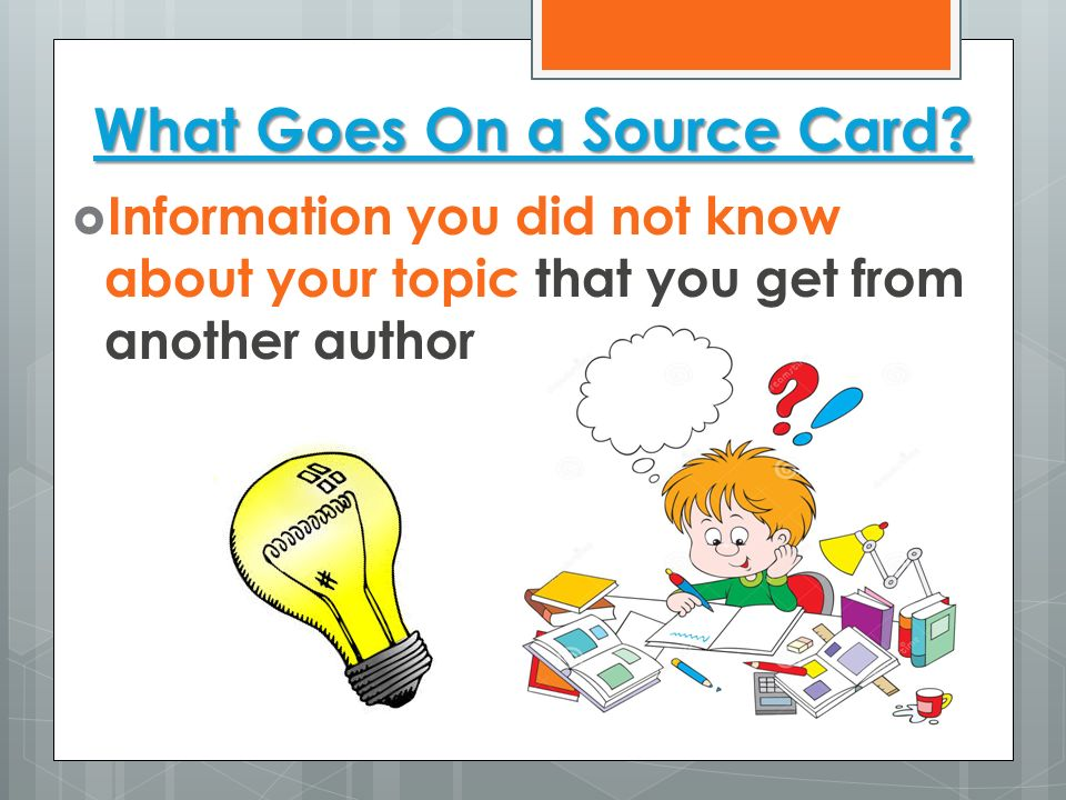 What Goes On a Source Card