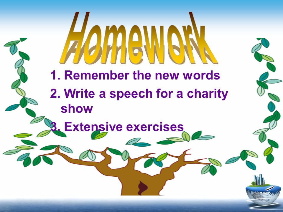 Homework 1. Remember the new words