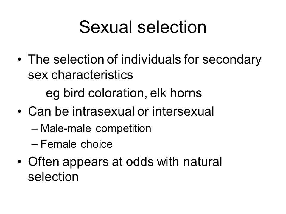 draft sexual selection Although natural selection could explain the differences between species, darwin realised that (other than in the reproductive organs themselves) it could not explain the often marked differences between the males and females of the same species.
