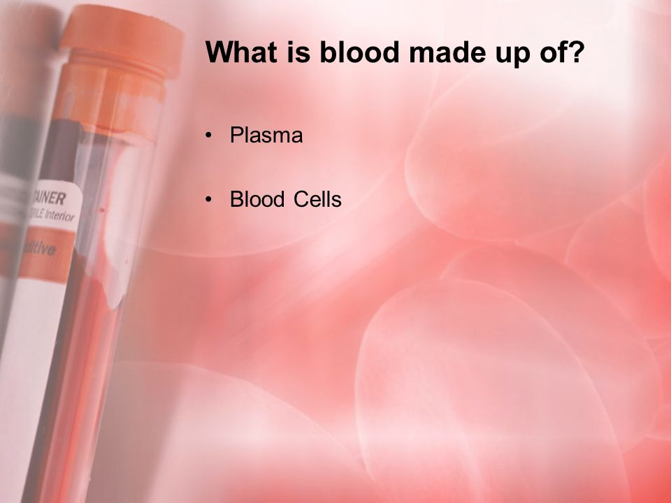 What is blood made up of Plasma Blood Cells