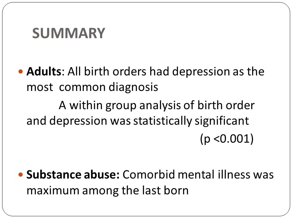 SUMMARY Adults: All birth orders had depression as the most common diagnosis.