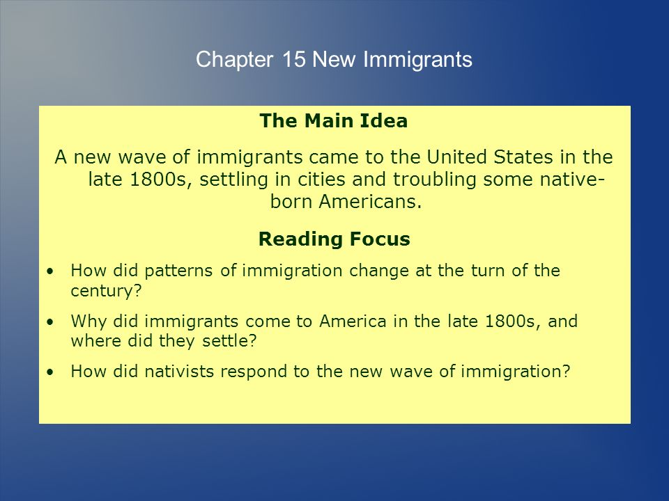 Chapter 15 New Immigrants