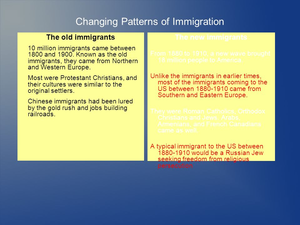 Changing Patterns of Immigration