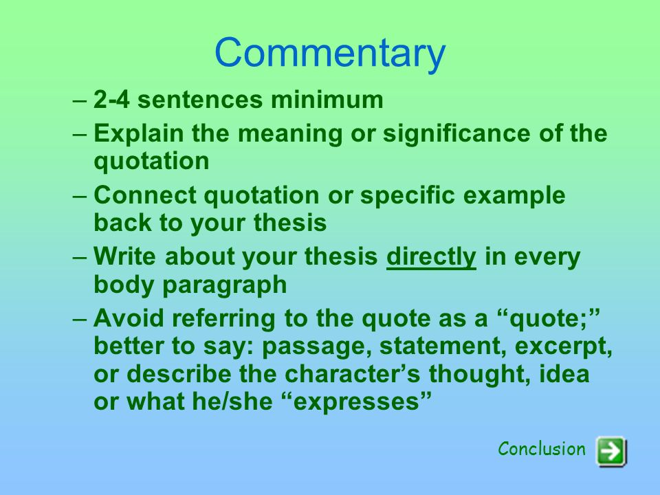 Commentary 2-4 sentences minimum