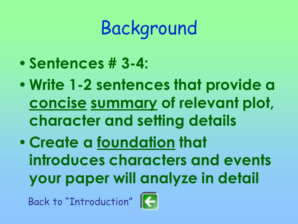 Background Sentences # 3-4: