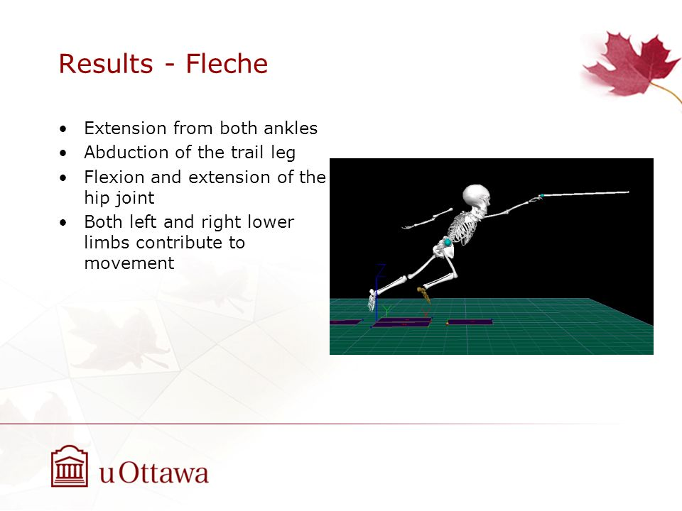 Results - Fleche Extension from both ankles Abduction of the trail leg