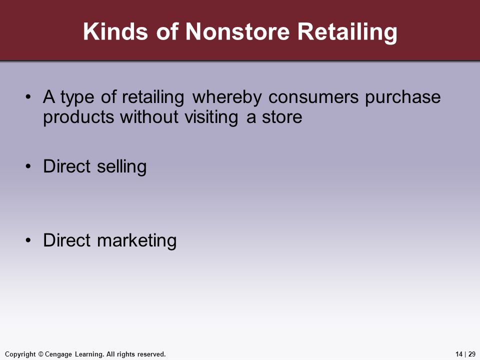 Kinds of Nonstore Retailing
