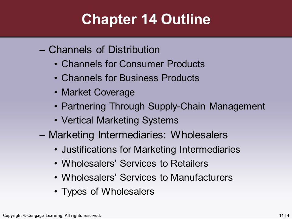Chapter 14 Outline Channels of Distribution