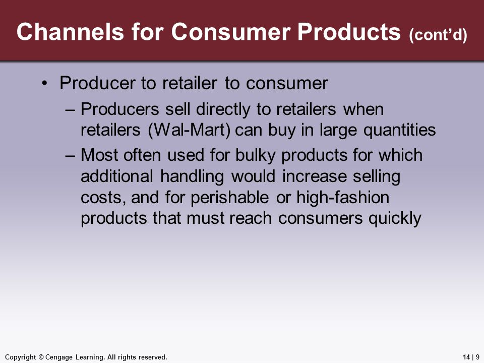 Channels for Consumer Products (cont'd)