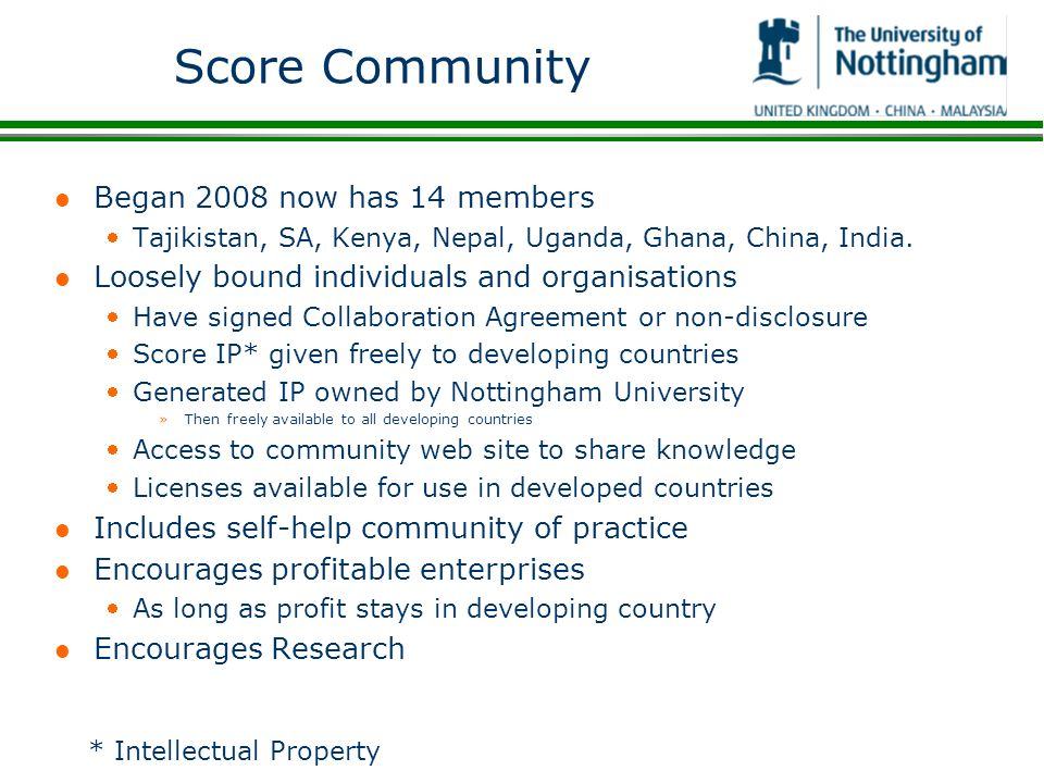 Score Community Began 2008 now has 14 members