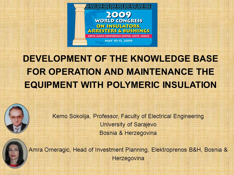 DEVELOPMENT OF THE KNOWLEDGE BASE FOR OPERATION AND MAINTENANCE THE EQUIPMENT WITH POLYMERIC INSULATION