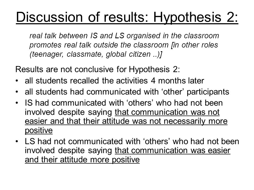 Discussion of results: Hypothesis 2: