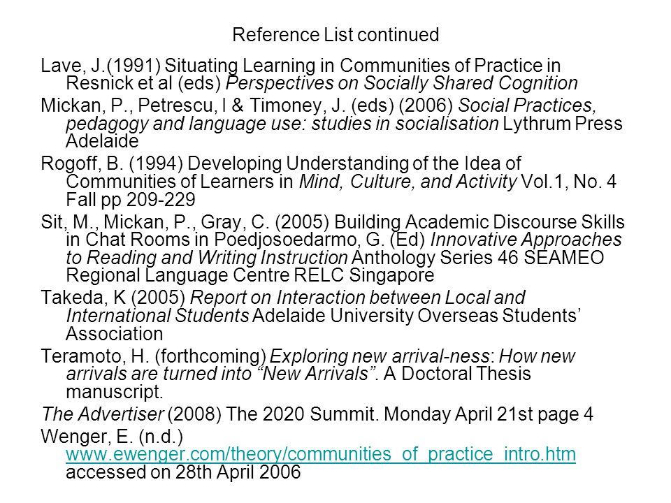 Reference List continued