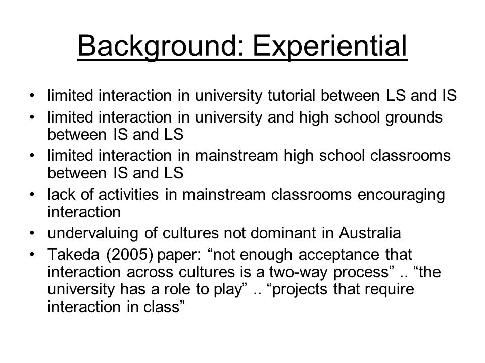 Background: Experiential