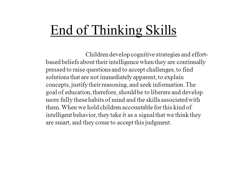 End of Thinking Skills