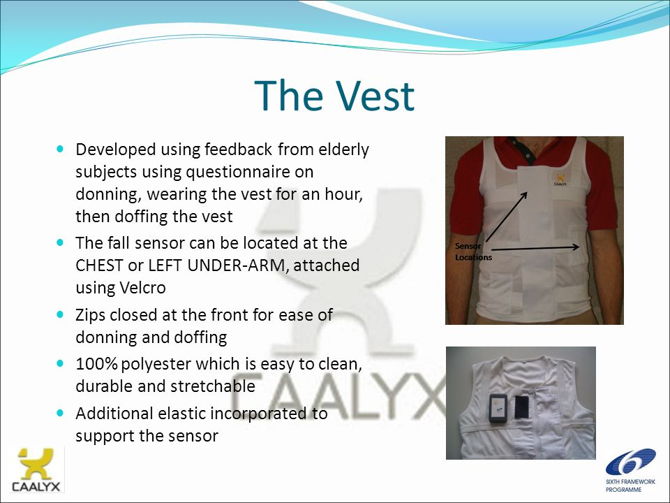 The Vest Developed using feedback from elderly subjects using questionnaire on donning, wearing the vest for an hour, then doffing the vest.