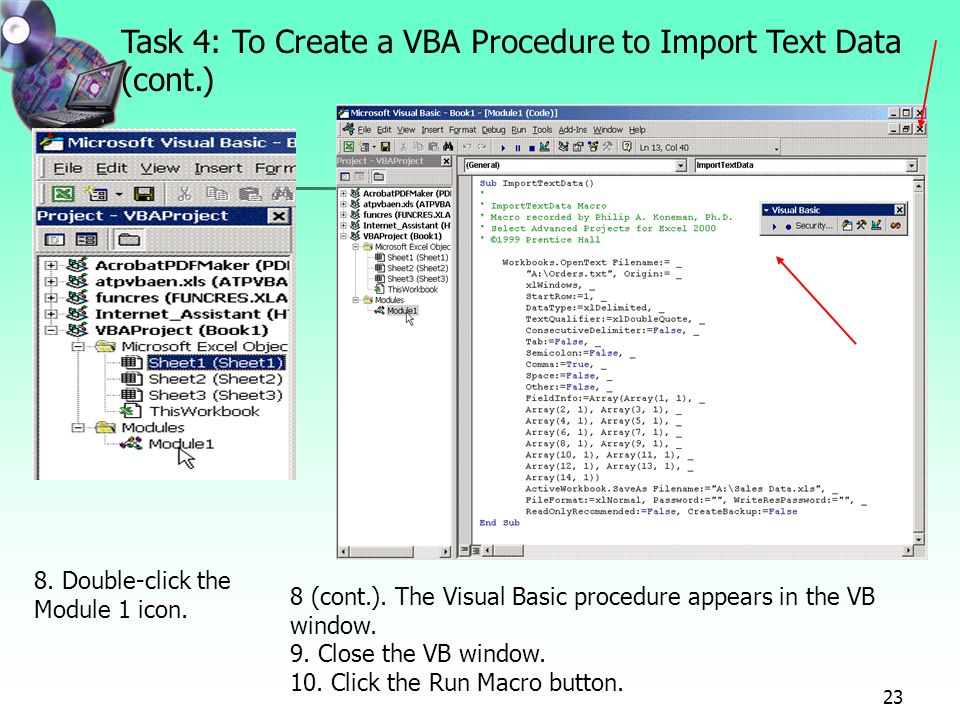 Project 9 Using Visual Basic for Applications (VBA) to