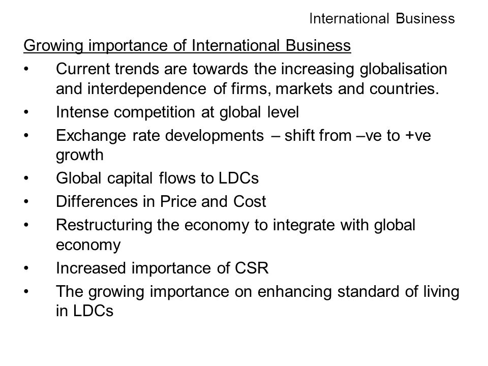 growing importance of international business