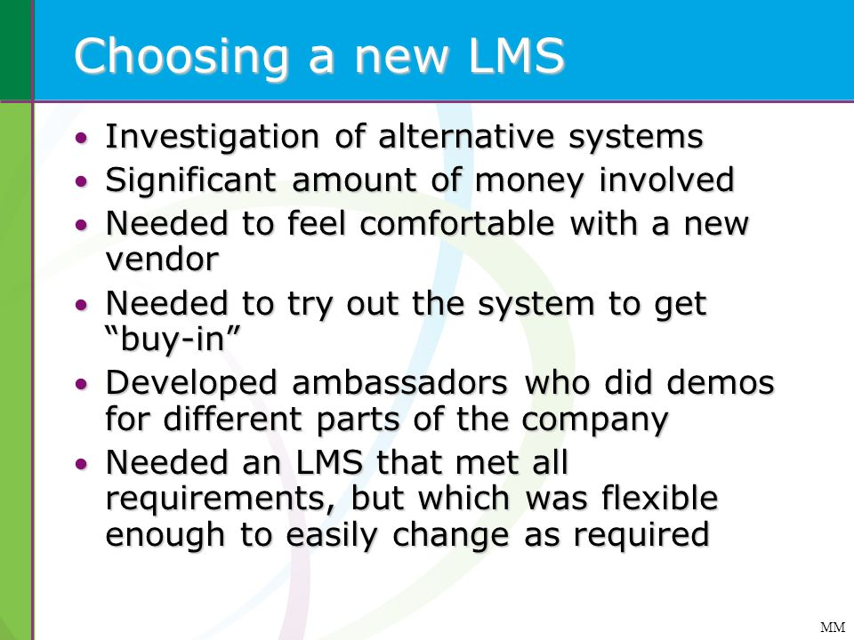 Choosing a new LMS Investigation of alternative systems